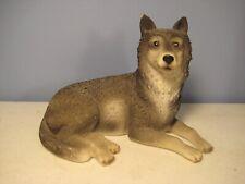 Gray Wolf Figurine Cast Resin Handpainted