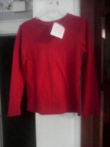 Boys Top Size (S) 6-6X  Red T-Shirt, Crew Neck, Long Sleeve by Faded Glory NWT