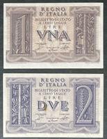 Lotto coppia 1 e 2 LIRE BIGLIETTO DI STATO FASCIO 14/11/1939 FDS e SUP+