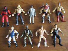 LOT OF 9 VINTAGE WWE WWF JAKKS WRESTLING FIGURES With FREE SHIPPING ECW TNA WCW