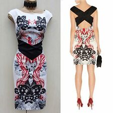 Karen Millen Multi  Butterfly Print Cocktail Races Cruise Wiggle Dress UK 14