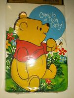 """NEW NOS 8 Invitations w/envelopes VINTAGE Winnie the Pooh """"Come to a Pooh Party"""""""