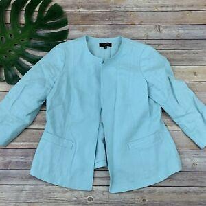 Talbots Light Blue Open Front Blazer Jacket Size 10 Petite Linen 3/4 Sleeve