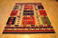 SOUTHWESTERN Wool kilim area rug 5x7 handmade red and blue NAVAJO/oriental