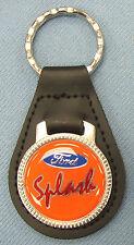 Vintage Oranage Ford SPLASH Black Leather USA Keyring Key Fob Key Holder
