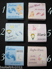 25 x Gastgeschenk personalisiert Taufe Geburt Baby Schokolade mit Foto