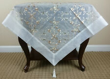 """**SALE!!! Embroidered Gold Tassel Handmade Rhine Stone Tablecloth 36x36"""" Square"""