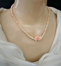 Fabulous Sterling Hand Carved Natural Angel Skin Coral & Rice Pearl Bead Neck.