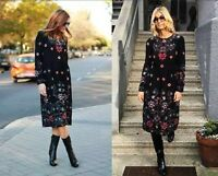 ZARA Black Long Floral Embroidered Dress With Long Sleeves Extra Small XS