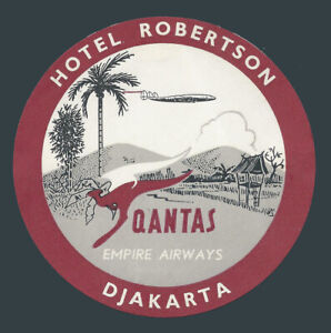 Hotel Robertson DJAKARTA Indonesia vintage luggage label / QANTAS Airways