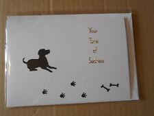 "Black Dog, Paw Prints & Bones ""Your Time Of Sadness"" Handmade Sympathy Card"
