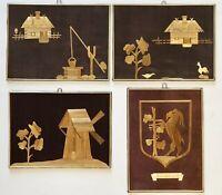 Lot of 4 Vintage Polish Folk STRAW ART Wall Plaques