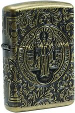 Zippo Choice St Benedict Design Antique Brass Windproof Lighter Gift Boxed 29719
