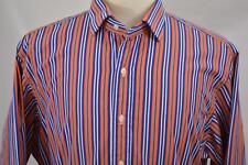 Polo Ralph Lauren 17 XL Regent Classic Fit Orange Blue Stripe Long Sleeve Shirt