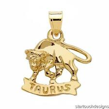 New 14k Yellow Gold Taurus Zodiac Pendant