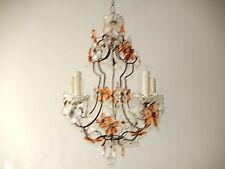 ~c 1920 French Peach & Clear Flower Prisms Maison Bagues Chandelier Huge RARE~