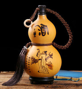 NEW  Natural Gourd, Portable Water Bottle, Wine, Medicine Gourd-高品质烙画葫芦