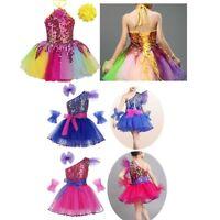 UK Girls Dancewear Outfit Sequins Tutu Dress Ballet Dance Latin Jazz Costume