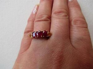 9CT Yellow Gold Oval Facet Ruby & Triangle Golden Sapphire 2.35 CT Ring Size N