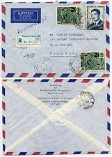 CAMBODIA to HONG KONG REGISTERED AIRMAIL 1967 GERMAN DELEGATION ENVELOPE