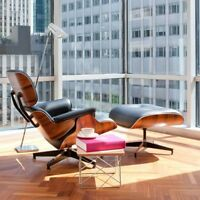 Eames Style Chair Lounge With Ottoman Mid Century Miller Modern Herman Black