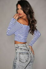 SEXY STRIPED OFF THE SHOULDER CROPPED TOP CLUB WEAR PARTY WEAR