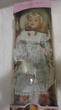Majestic Collection 16in. Porcelain Girl Doll In A White & Blue Flower Dress New