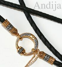 BLACK LEATHER ORTHODOX JEWELRY CORD.925 STERLING SILVER +.999GOLD.60cm, 23.6""