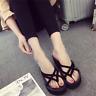 Womens Black Wedge Platform Thong Flip Flops Beach Sandals Slipper Indoor Shoes