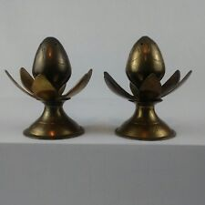 Salt & Pepper Shakers Brass Flower Shape Vintage Small Screw Off Lids 3.25 inch