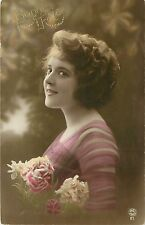 1905-15 Tinted Real Photo French Postcard: Lovely Girl Bonne Fête Happy Birthday