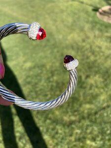 David Yurman Silver 7mm Cable Candy Garnet  & Diamonds Bracelet