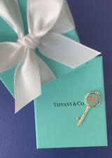 New Tiffany & Co Silver Heart Blue Enamel Key Pendant