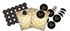 Gold and white dotty paper bags x 24 and black and gold thank you stickers