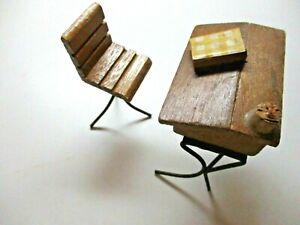 Dollhouse Miniature Set 1940s Wood Slant School Desk w/ Chair Iron Legs 1:12 Vtg