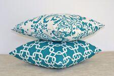 Aqua Throw Pillow Set Premier Prints Geometric / Damask Pattern 2 x cushions