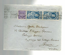 1935 Poland Red Wax Seal cover to Italy Gretha Erichsen Countess Ronconi