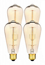 Deneve 4-Pack Edison 60w Antique ST64 Squirrel Cage Filament Lights Bulb Lamp