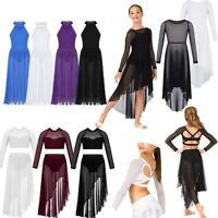 Girl Ballet Latin Dance Dress Lyrical Leotard Mesh Long Skirt Dancewear Costume