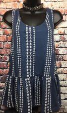 NEW NEXT 14 blue peplum jersey sleeveless tunic blue floral stripe embroidery