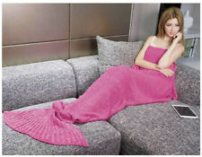 LAGHCAT Mermaid Tail Blanket Crochet for Adult, Soft All Seasons PURPLE / PINK