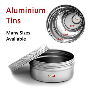 5ml - 250ml Small Round Metal Aluminium Storage Tin Jar Stash Pot Balm Cosmetic