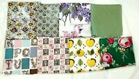 Vintage Mid Century Chintz Fabric Lot Everglaze Floral Apples Alphabet