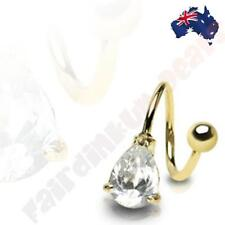 316L Surgical Steel Gold Ion Plated Twist Bar With Clear Teardrop Gem