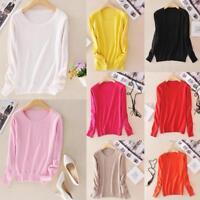 Women Autumn Knitted Cashmere Long Sleeve Jumper Pullover Sweater Winter Tops MZ