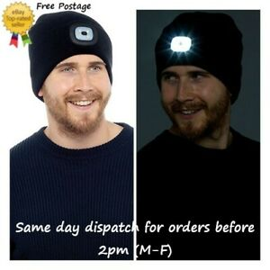 Warm Unisex Beanie Hat LED Rechargeable USB Head Torch Light Dog Walking Cycling
