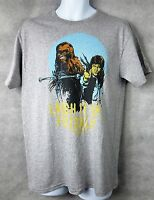 Star Wars Officially Licensed Mens T-Shirt Gray Han Solo Chewbacca Fuzz Ball