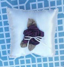 Wilton Ivory Satin with Dark Purple Flower Ring Bearer's Pillow