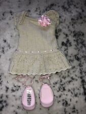 American Girl Doll Retired Sweet Spring Metallic Rose Shoes Dress Set With Box