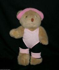 "12"" Vintage 1985 Tan Teddy Bear Bearland Exercise Girl Stuffed Animal Plush Toy"